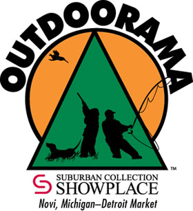 logo for outdoorama, novi, michigan show